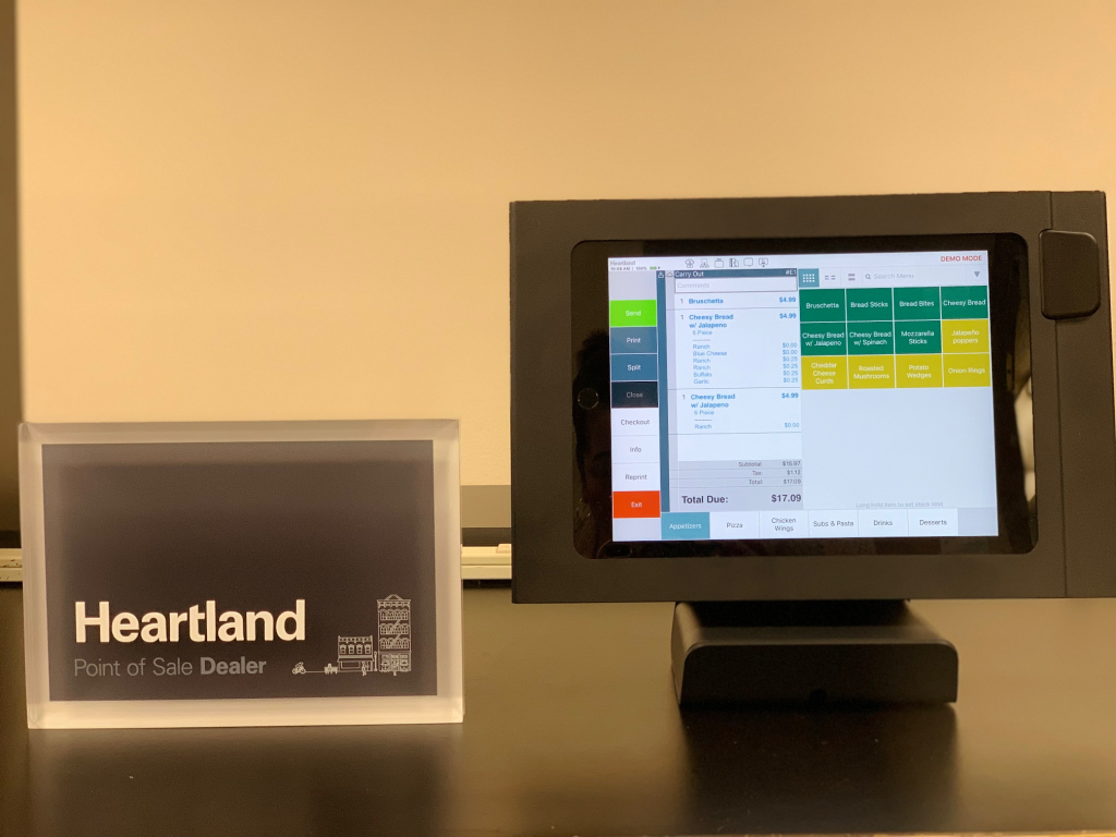 Heartland Restaurant Point of Sale demo in office