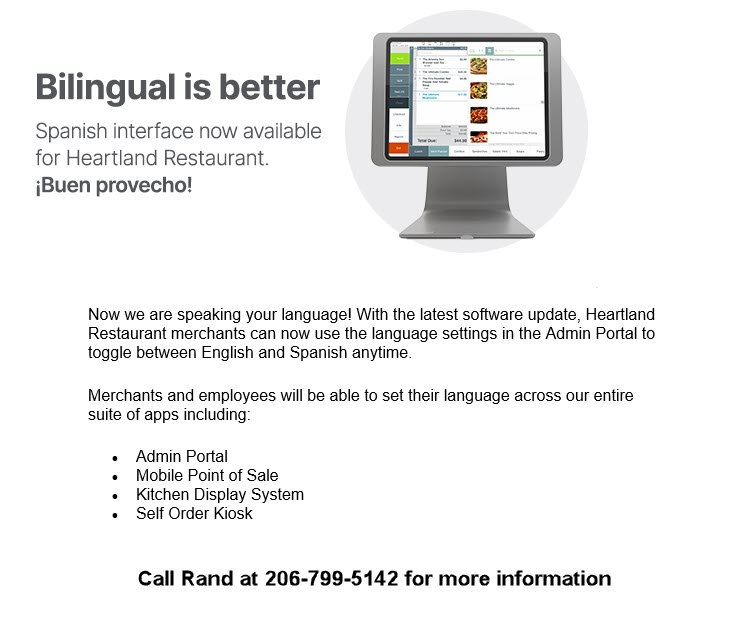 Heartland restaurant POS supports multiple languages